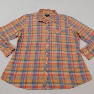 Eddie Bauer 2XL Orange Button Down Top  Cotton